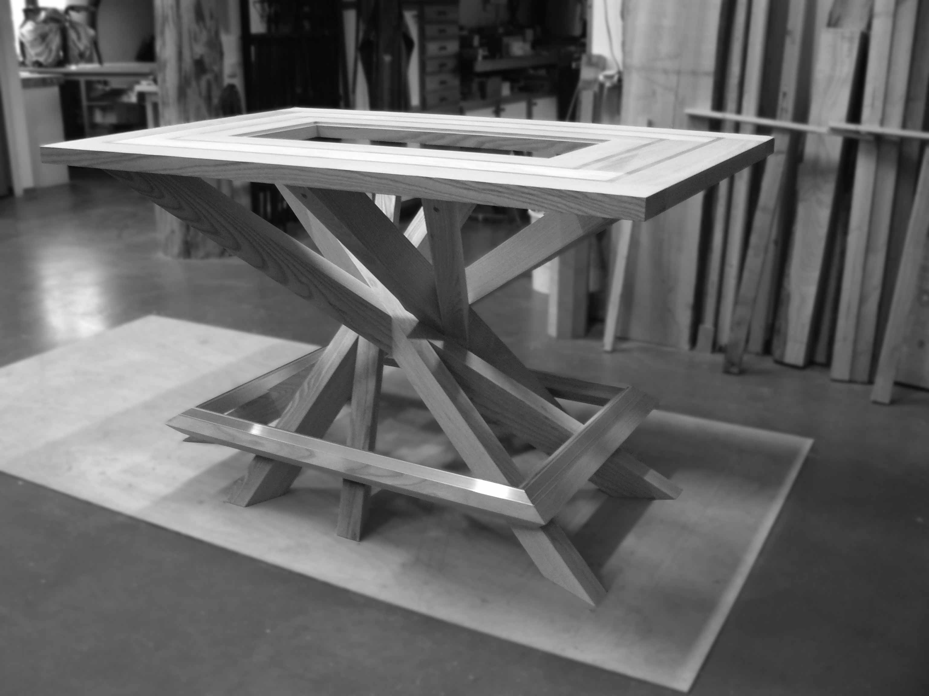 Commande de table design en frêne et alu